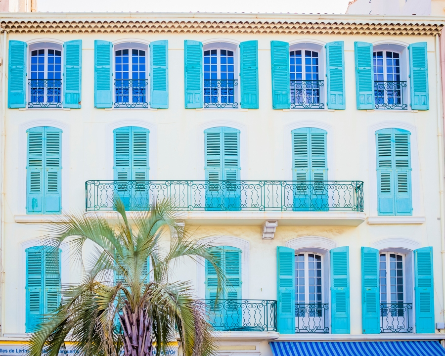 Typical French Riviera house with colorful shutters