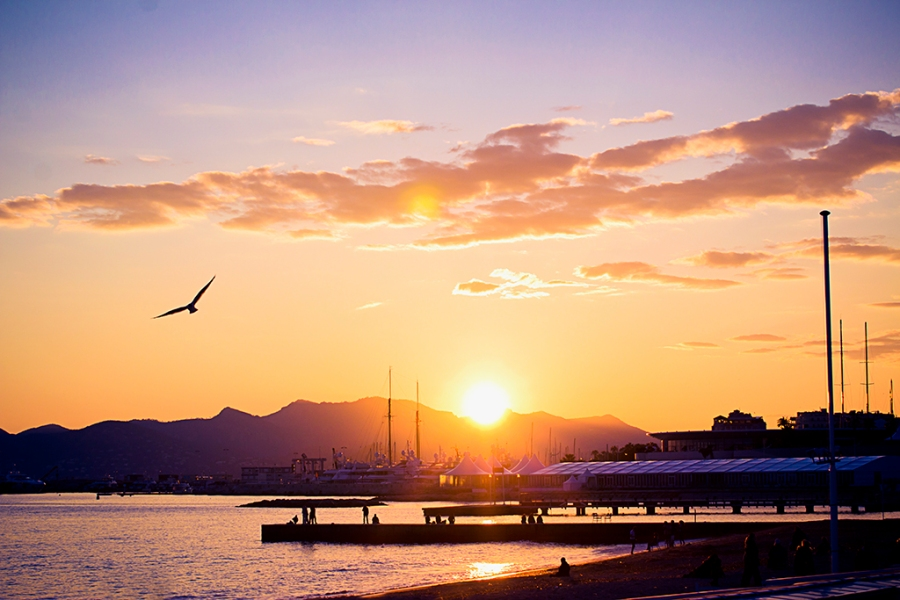 Sunset on the bay of Cannes, French Riviera