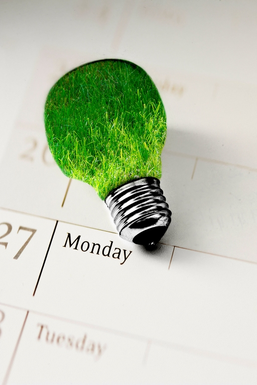 grass inside light bulb on calendar, concept of clean energy