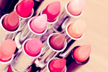 beauty and cosmetics: colorful lipsticks and lipgloss