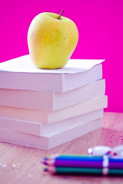 back to school essentials: books, pencils, snack