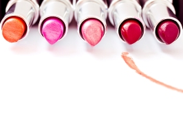 set of aligned lipsticks with red stroke