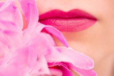 macro shot of pink lips with star