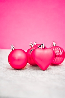 pink and purple Christmas decorations