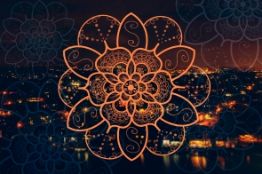 gold coast night bokeh orange mandala flower 1
