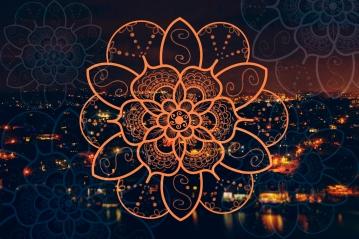gold coast night bokeh orange mandala flower 1