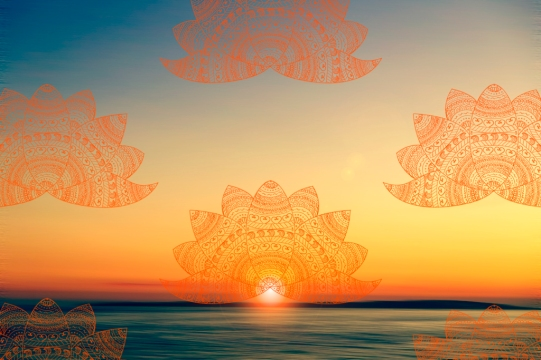 mandala jacaranda peach sunset repeat on ORANGE