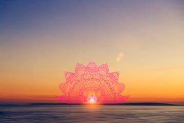 mandala jacaranda peach sunset