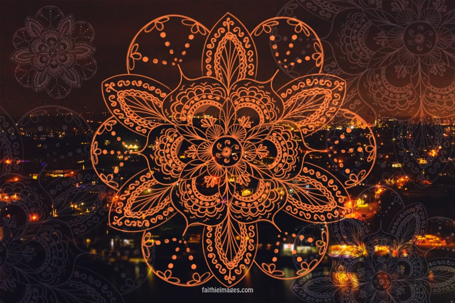 gold-coast-night-bokeh-orange-mandala-flower-NEW