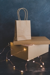 concept of online and store purchases, delivery parcel and shopping bag with payment card on tabletop with fairy lights around them